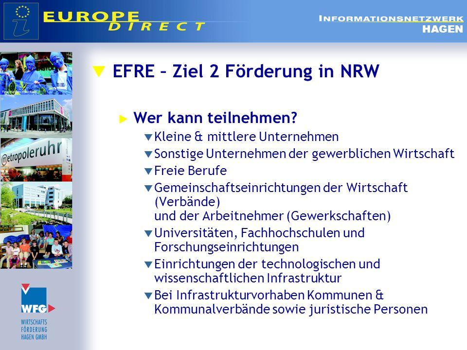 EFRE – Ziel 2 Förderung in NRW Wer kann teilnehmen? Kleine & mittlere Unternehmen Sonstige Unternehmen der gewerblichen Wirtschaft Freie Berufe Gemein