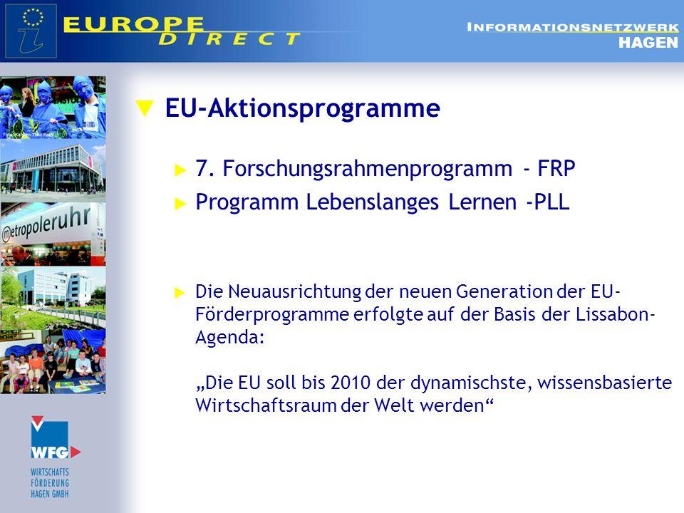 EU-Aktionsprogramme 7. Forschungsrahmenprogramm - FRP Programm Lebenslanges Lernen -PLL Die Neuausrichtung der neuen Generation der EU- Förderprogramm