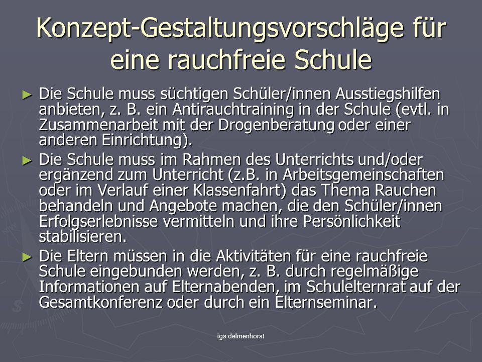 igs delmenhorst Konzept-Gestaltungsvorschläge für eine rauchfreie Schule Die Schule muss süchtigen Schüler/innen Ausstiegshilfen anbieten, z. B. ein A