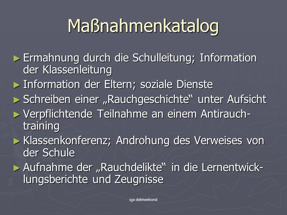 igs delmenhorst Maßnahmenkatalog Ermahnung durch die Schulleitung; Information der Klassenleitung Ermahnung durch die Schulleitung; Information der Kl