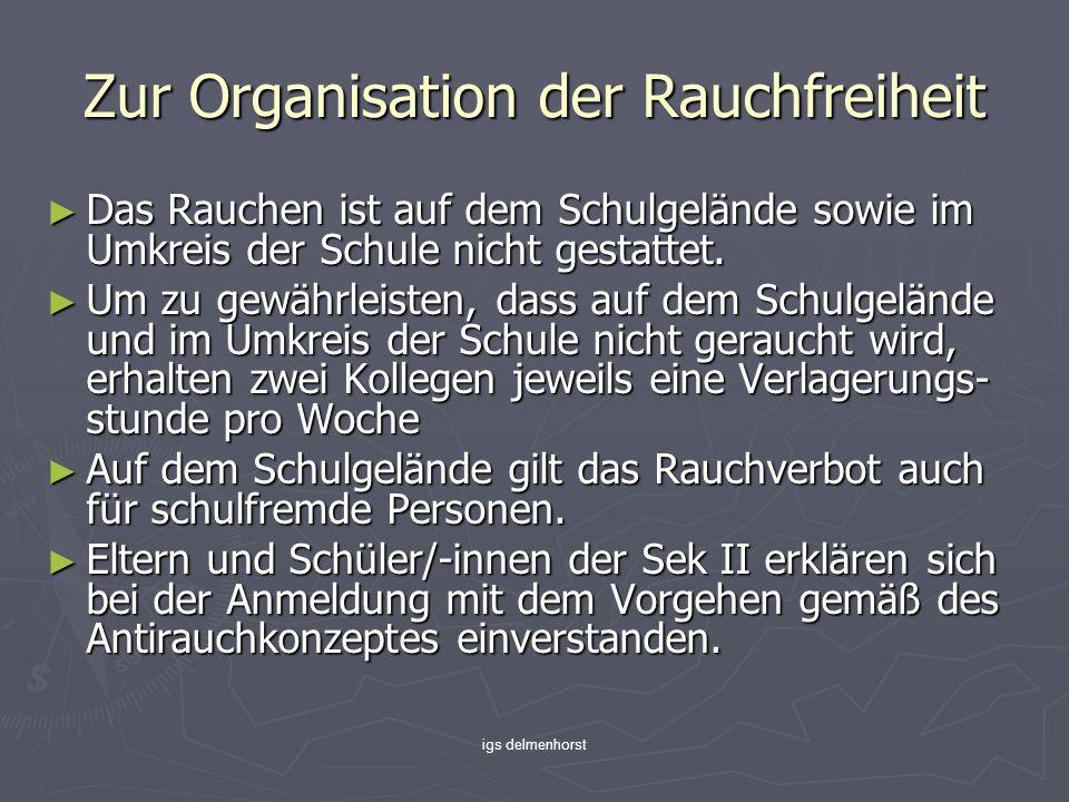 igs delmenhorst Zur Organisation der Rauchfreiheit Das Rauchen ist auf dem Schulgelände sowie im Umkreis der Schule nicht gestattet.