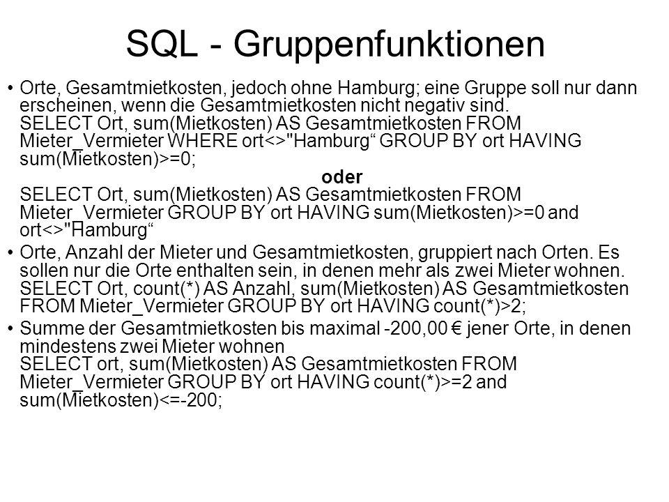 SQL - Gruppenfunktionen Orte, Gesamtmietkosten, jedoch ohne Hamburg; eine Gruppe soll nur dann erscheinen, wenn die Gesamtmietkosten nicht negativ sin
