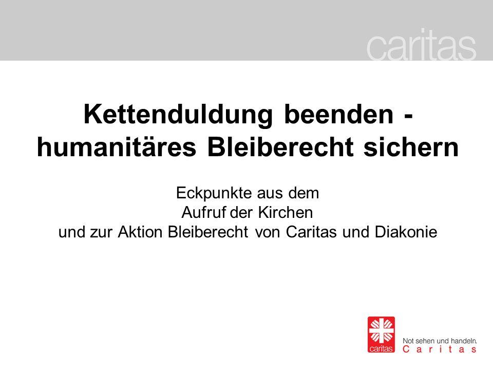 Kettenduldung beenden – humanitäres Bleiberecht sichern Die Aktion Bleiberecht der Kirchen Folie 2 Aktion Bleiberecht auf einem Blick: 1.