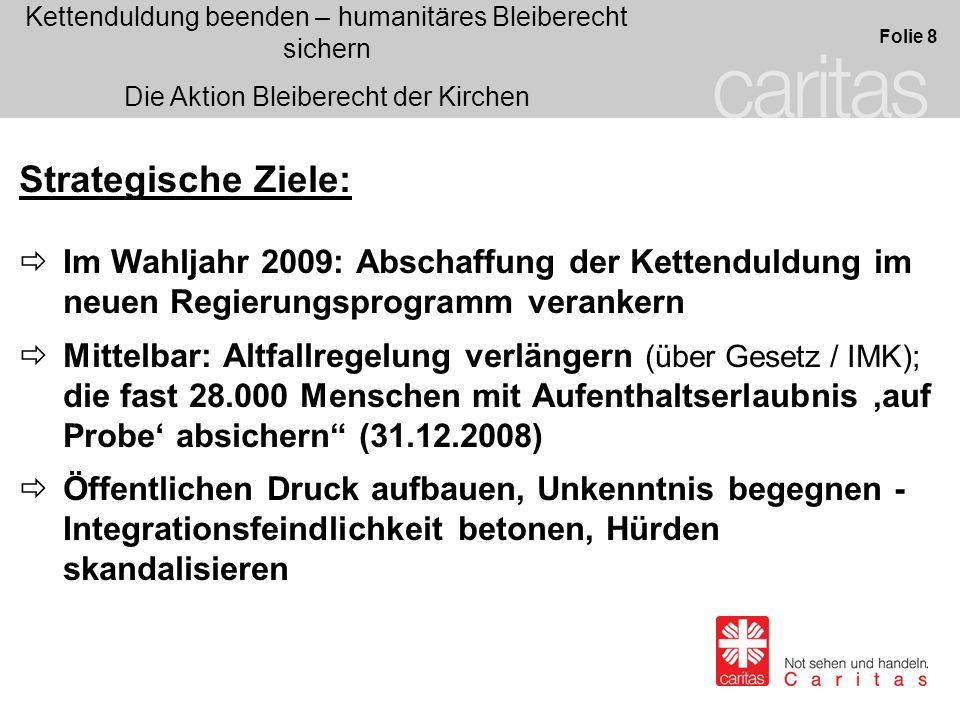 Kettenduldung beenden – humanitäres Bleiberecht sichern Die Aktion Bleiberecht der Kirchen Folie 8 Strategische Ziele: Im Wahljahr 2009: Abschaffung d