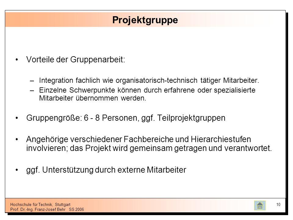 Hochschule für Technik, Stuttgart Prof. Dr.-Ing. Franz-Josef BehrSS 2006 10 Projektgruppe Vorteile der Gruppenarbeit: –Integration fachlich wie organi