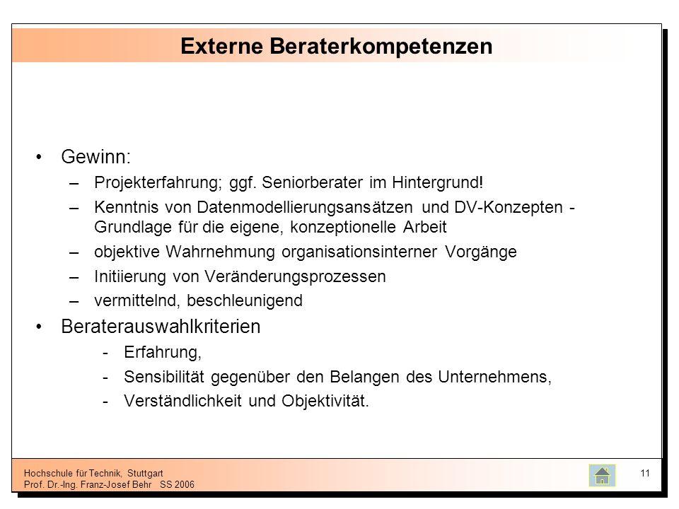 Hochschule für Technik, Stuttgart Prof. Dr.-Ing. Franz-Josef BehrSS 2006 11 Externe Beraterkompetenzen Gewinn: –Projekterfahrung; ggf. Seniorberater i