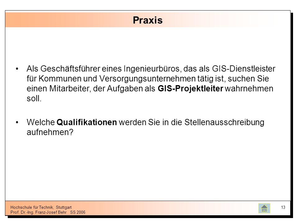 Hochschule für Technik, Stuttgart Prof. Dr.-Ing. Franz-Josef BehrSS 2006 13 Praxis Als Geschäftsführer eines Ingenieurbüros, das als GIS-Dienstleister