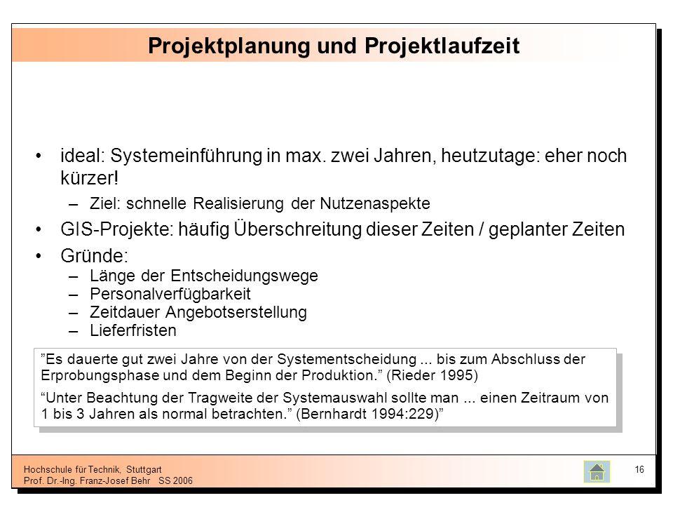 Hochschule für Technik, Stuttgart Prof. Dr.-Ing. Franz-Josef BehrSS 2006 16 Projektplanung und Projektlaufzeit ideal: Systemeinführung in max. zwei Ja