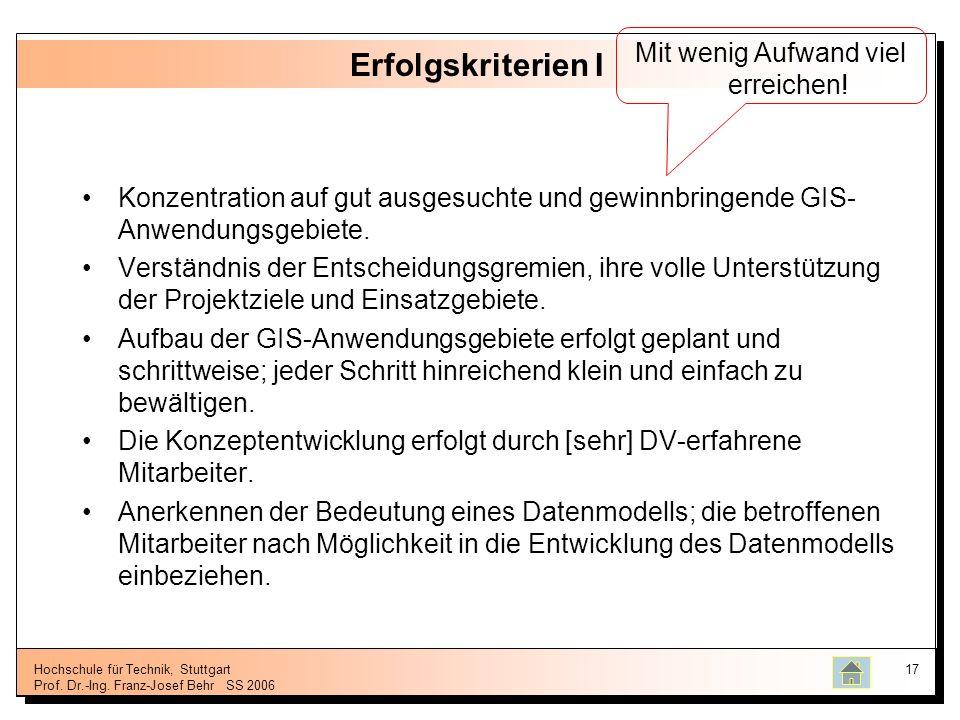 Hochschule für Technik, Stuttgart Prof. Dr.-Ing. Franz-Josef BehrSS 2006 17 Erfolgskriterien I Konzentration auf gut ausgesuchte und gewinnbringende G