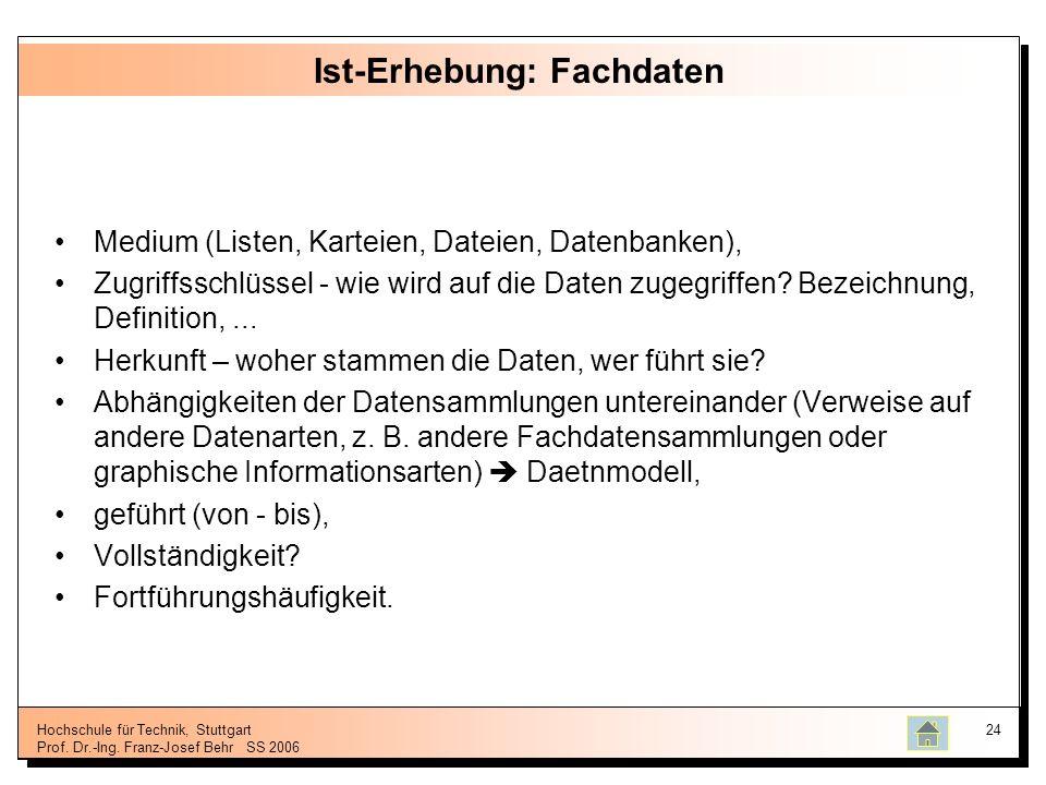 Hochschule für Technik, Stuttgart Prof. Dr.-Ing. Franz-Josef BehrSS 2006 24 Ist-Erhebung: Fachdaten Medium (Listen, Karteien, Dateien, Datenbanken), Z