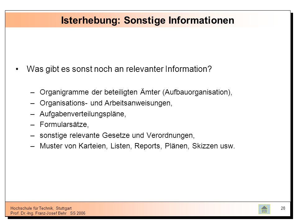 Hochschule für Technik, Stuttgart Prof. Dr.-Ing. Franz-Josef BehrSS 2006 28 Isterhebung: Sonstige Informationen Was gibt es sonst noch an relevanter I