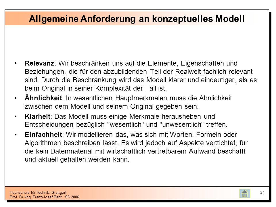 Hochschule für Technik, Stuttgart Prof. Dr.-Ing. Franz-Josef BehrSS 2006 37 Allgemeine Anforderung an konzeptuelles Modell Relevanz: Wir beschränken u