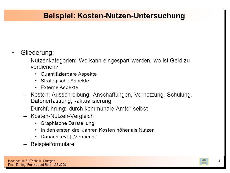 Hochschule für Technik, Stuttgart Prof. Dr.-Ing. Franz-Josef BehrSS 2006 4 Beispiel: Kosten-Nutzen-Untersuchung Gliederung: –Nutzenkategorien: Wo kann