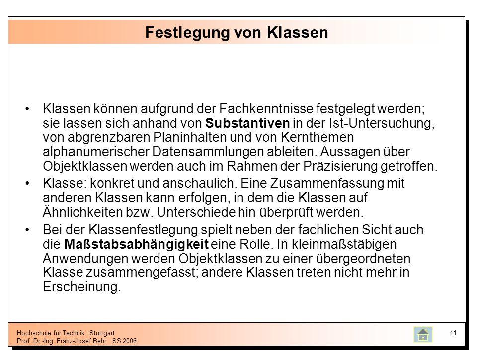 Hochschule für Technik, Stuttgart Prof. Dr.-Ing. Franz-Josef BehrSS 2006 41 Festlegung von Klassen Klassen können aufgrund der Fachkenntnisse festgele