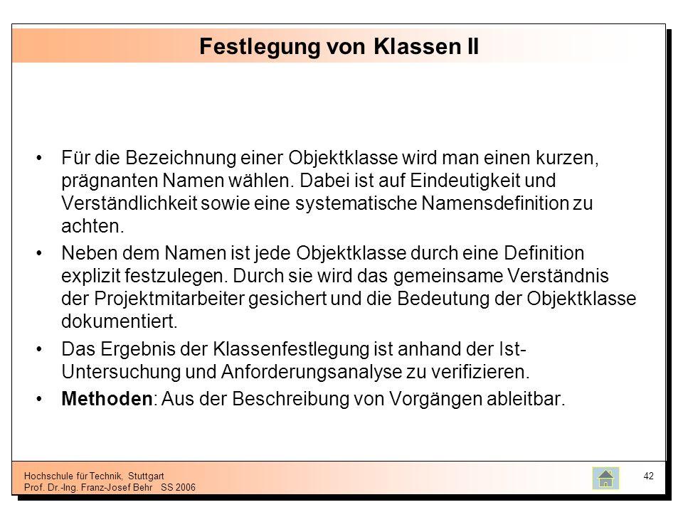 Hochschule für Technik, Stuttgart Prof. Dr.-Ing. Franz-Josef BehrSS 2006 42 Festlegung von Klassen II Für die Bezeichnung einer Objektklasse wird man