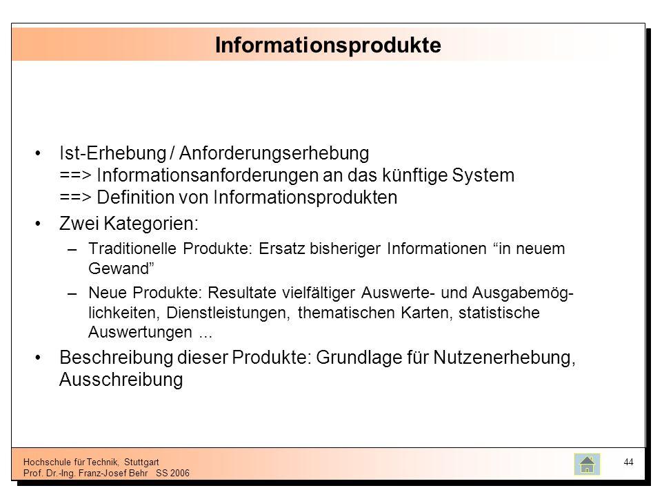 Hochschule für Technik, Stuttgart Prof. Dr.-Ing. Franz-Josef BehrSS 2006 44 Informationsprodukte Ist-Erhebung / Anforderungserhebung ==> Informationsa