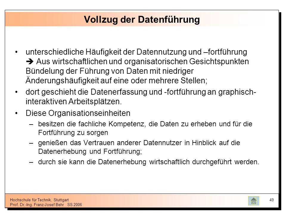 Hochschule für Technik, Stuttgart Prof. Dr.-Ing. Franz-Josef BehrSS 2006 49 Vollzug der Datenführung unterschiedliche Häufigkeit der Datennutzung und