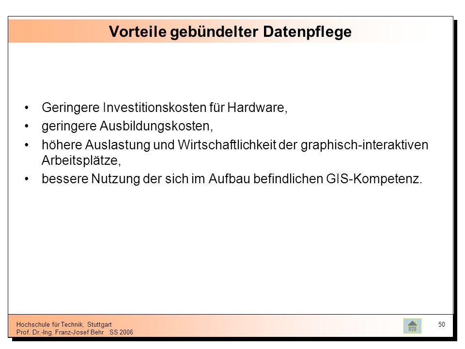 Hochschule für Technik, Stuttgart Prof. Dr.-Ing. Franz-Josef BehrSS 2006 50 Vorteile gebündelter Datenpflege Geringere Investitionskosten für Hardware
