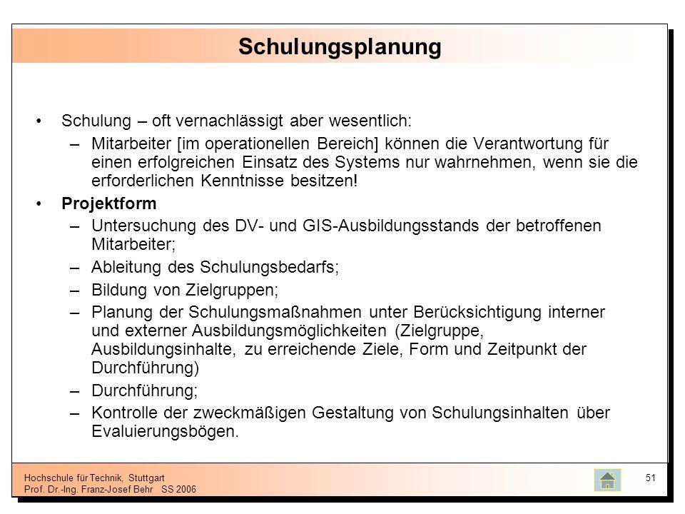 Hochschule für Technik, Stuttgart Prof. Dr.-Ing. Franz-Josef BehrSS 2006 51 Schulungsplanung Schulung – oft vernachlässigt aber wesentlich: –Mitarbeit