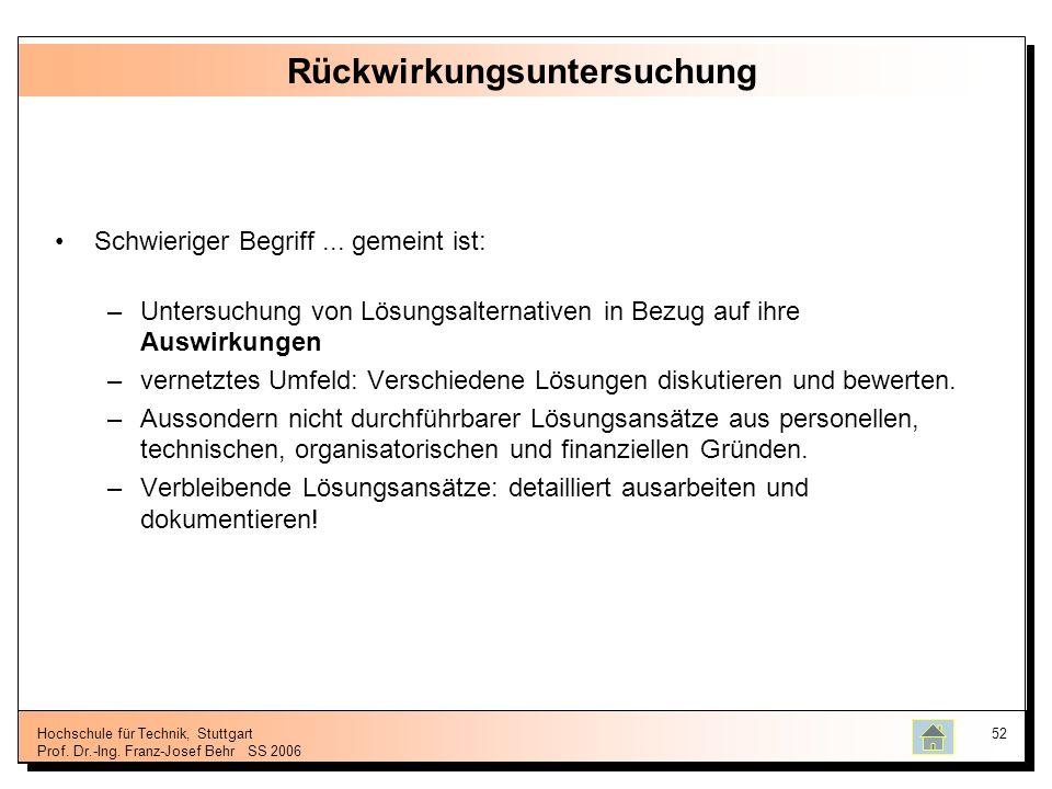 Hochschule für Technik, Stuttgart Prof. Dr.-Ing. Franz-Josef BehrSS 2006 52 Rückwirkungsuntersuchung Schwieriger Begriff... gemeint ist: –Untersuchung