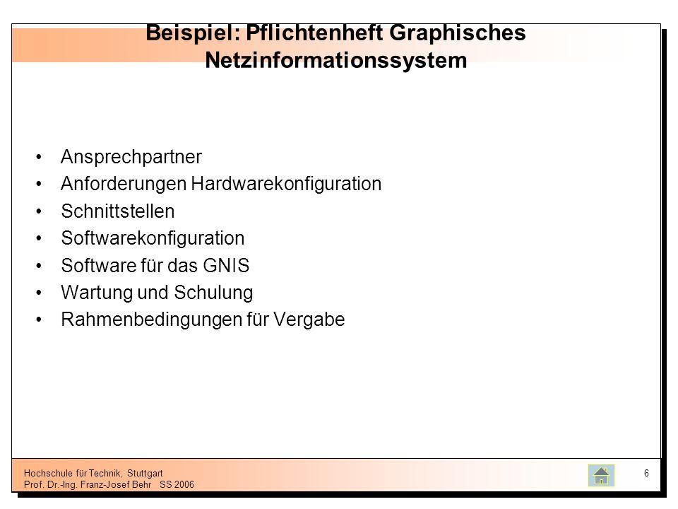 Hochschule für Technik, Stuttgart Prof. Dr.-Ing. Franz-Josef BehrSS 2006 6 Beispiel: Pflichtenheft Graphisches Netzinformationssystem Ansprechpartner