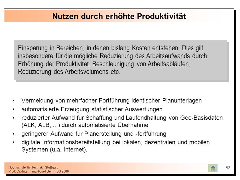Hochschule für Technik, Stuttgart Prof. Dr.-Ing. Franz-Josef BehrSS 2006 63 Nutzen durch erhöhte Produktivität Vermeidung von mehrfacher Fortführung i