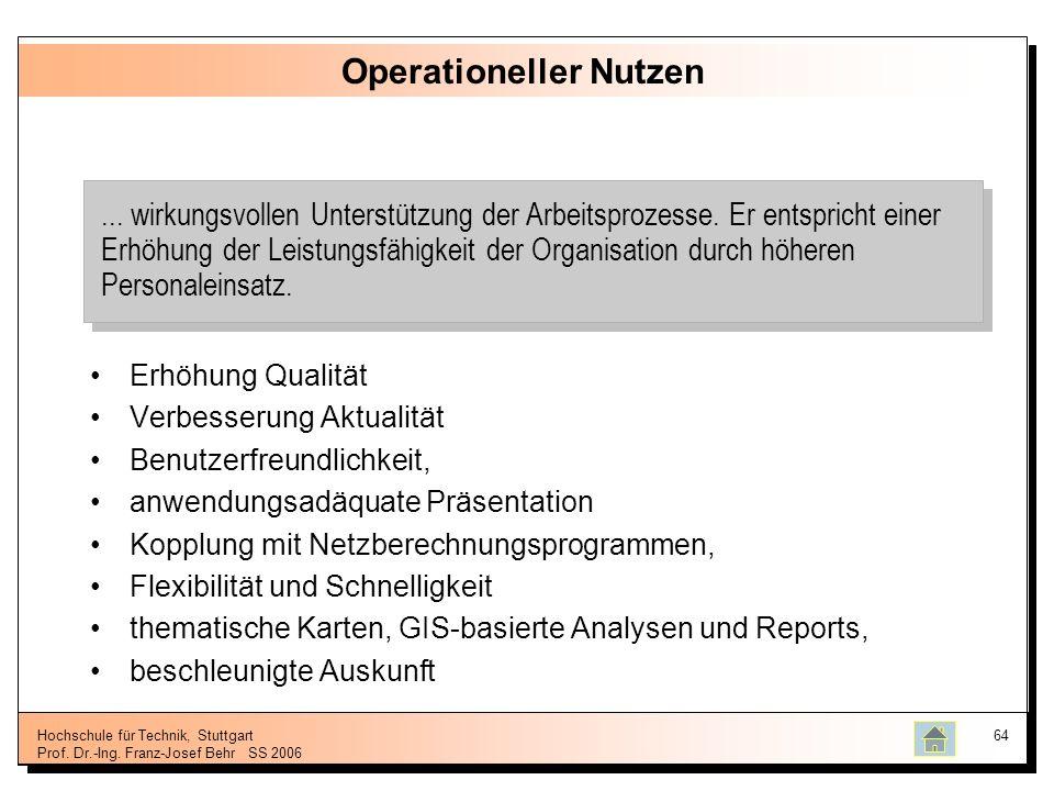 Hochschule für Technik, Stuttgart Prof. Dr.-Ing. Franz-Josef BehrSS 2006 64 Operationeller Nutzen Erhöhung Qualität Verbesserung Aktualität Benutzerfr