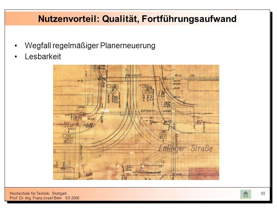 Hochschule für Technik, Stuttgart Prof. Dr.-Ing. Franz-Josef BehrSS 2006 65 Nutzenvorteil: Qualität, Fortführungsaufwand Wegfall regelmäßiger Planerne