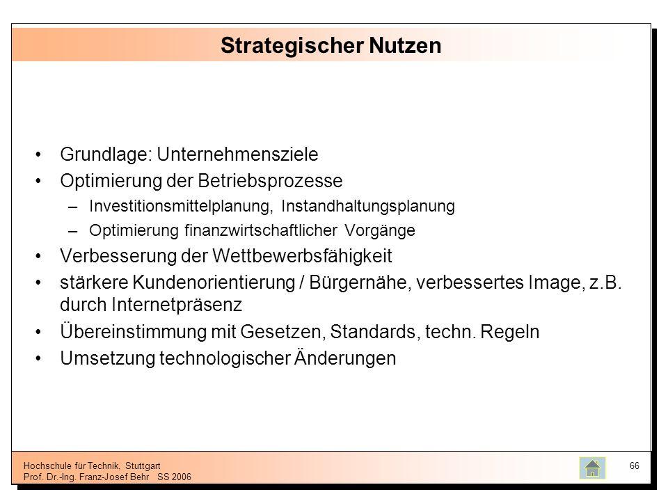 Hochschule für Technik, Stuttgart Prof. Dr.-Ing. Franz-Josef BehrSS 2006 66 Strategischer Nutzen Grundlage: Unternehmensziele Optimierung der Betriebs