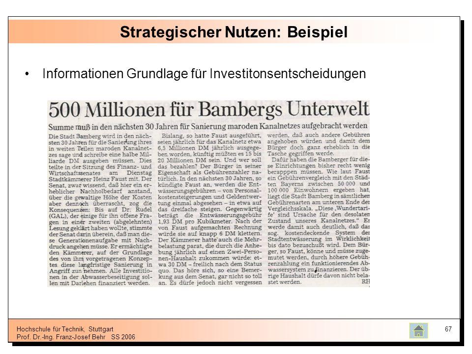 Hochschule für Technik, Stuttgart Prof. Dr.-Ing. Franz-Josef BehrSS 2006 67 Strategischer Nutzen: Beispiel Informationen Grundlage für Investitonsents