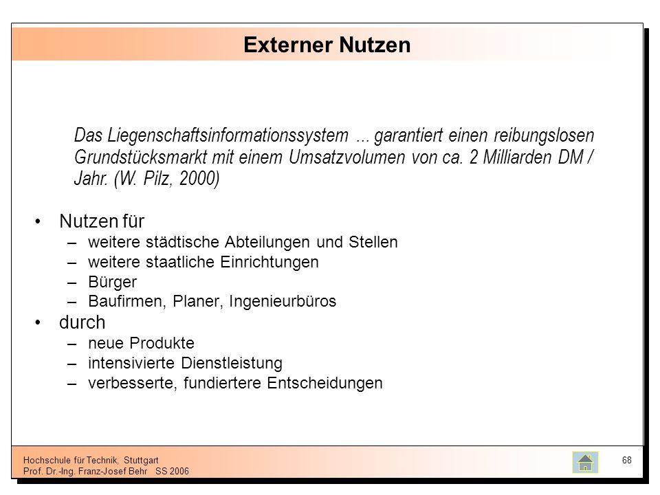 Hochschule für Technik, Stuttgart Prof. Dr.-Ing. Franz-Josef BehrSS 2006 68 Externer Nutzen Nutzen für –weitere städtische Abteilungen und Stellen –we
