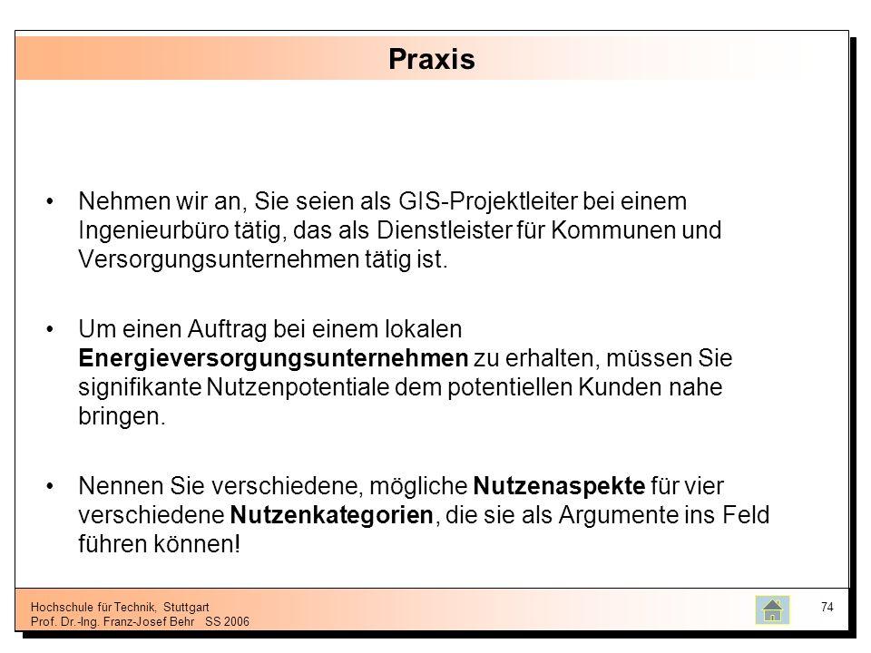 Hochschule für Technik, Stuttgart Prof. Dr.-Ing. Franz-Josef BehrSS 2006 74 Praxis Nehmen wir an, Sie seien als GIS-Projektleiter bei einem Ingenieurb