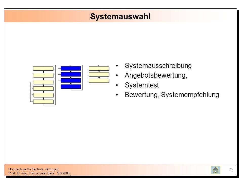 Hochschule für Technik, Stuttgart Prof. Dr.-Ing. Franz-Josef BehrSS 2006 75 Systemauswahl Systemausschreibung Angebotsbewertung, Systemtest Bewertung,