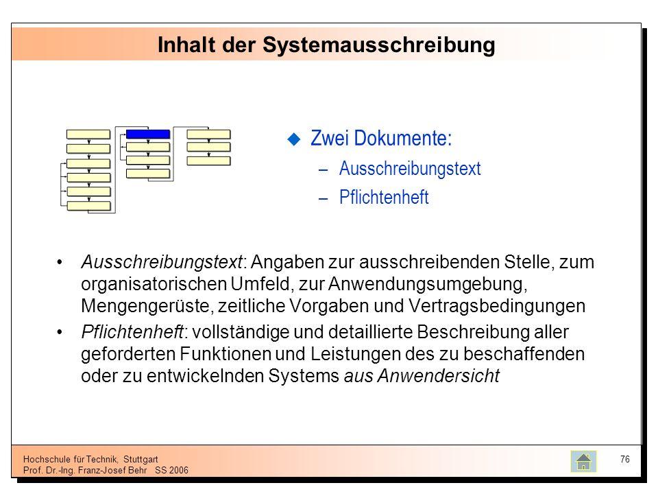 Hochschule für Technik, Stuttgart Prof. Dr.-Ing. Franz-Josef BehrSS 2006 76 Inhalt der Systemausschreibung Ausschreibungstext: Angaben zur ausschreibe