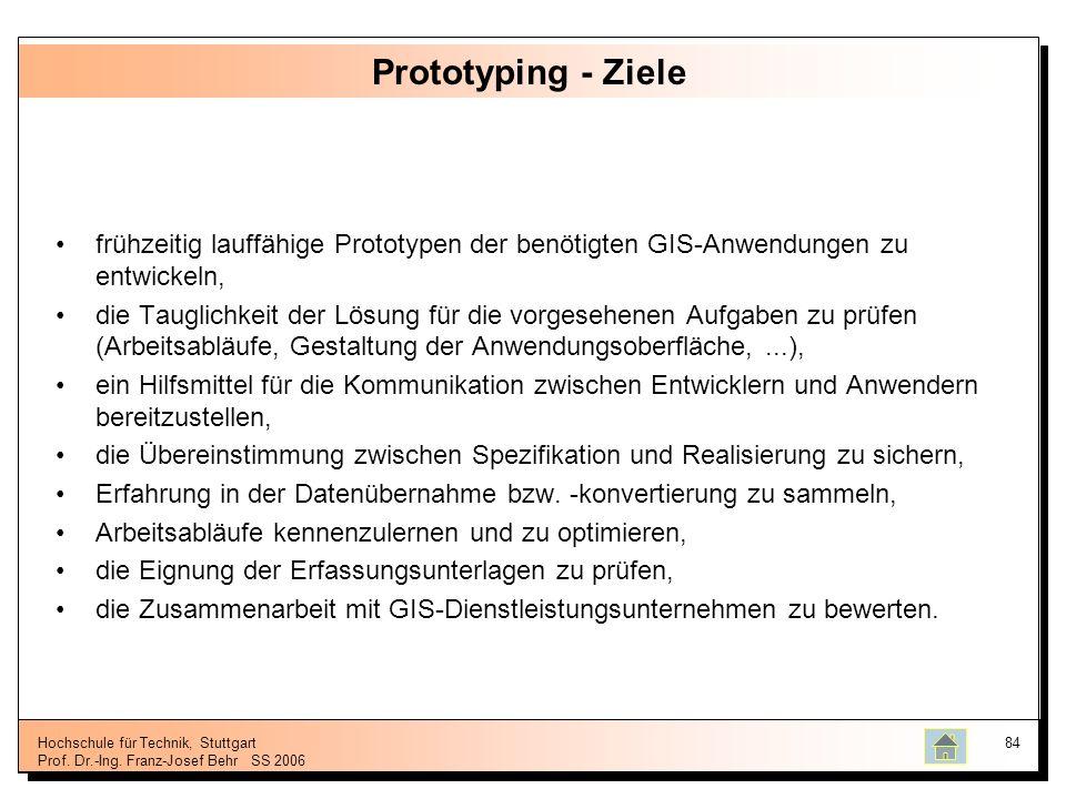 Hochschule für Technik, Stuttgart Prof. Dr.-Ing. Franz-Josef BehrSS 2006 84 Prototyping - Ziele frühzeitig lauffähige Prototypen der benötigten GIS-An