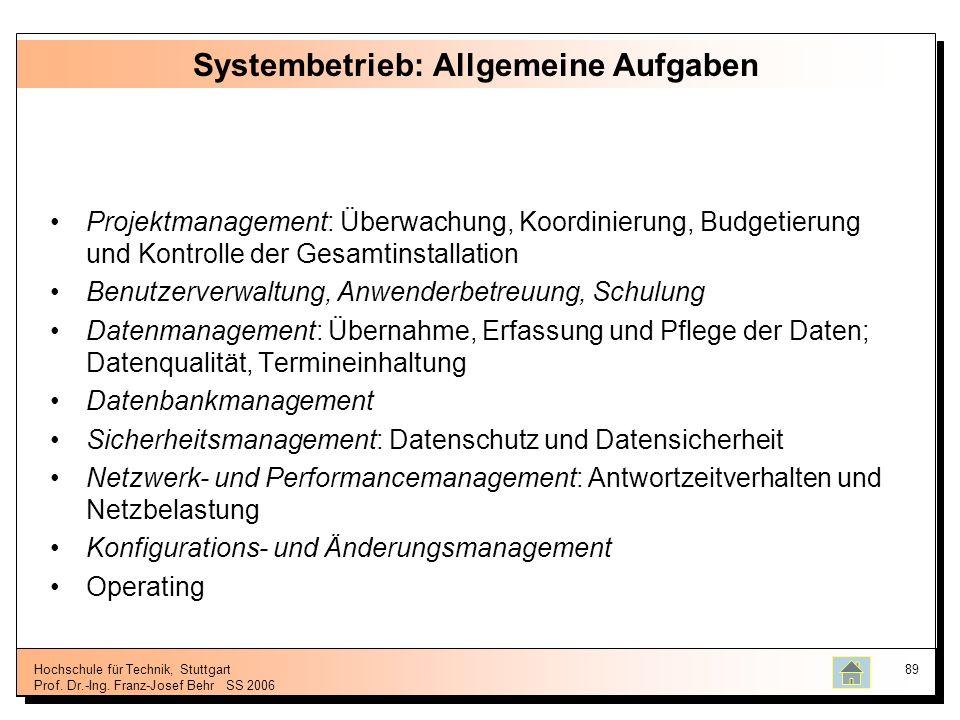 Hochschule für Technik, Stuttgart Prof. Dr.-Ing. Franz-Josef BehrSS 2006 89 Systembetrieb: Allgemeine Aufgaben Projektmanagement: Überwachung, Koordin