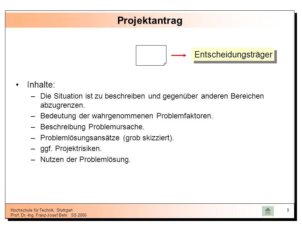 Hochschule für Technik, Stuttgart Prof. Dr.-Ing. Franz-Josef BehrSS 2006 9 Projektantrag Inhalte: –Die Situation ist zu beschreiben und gegenüber ande