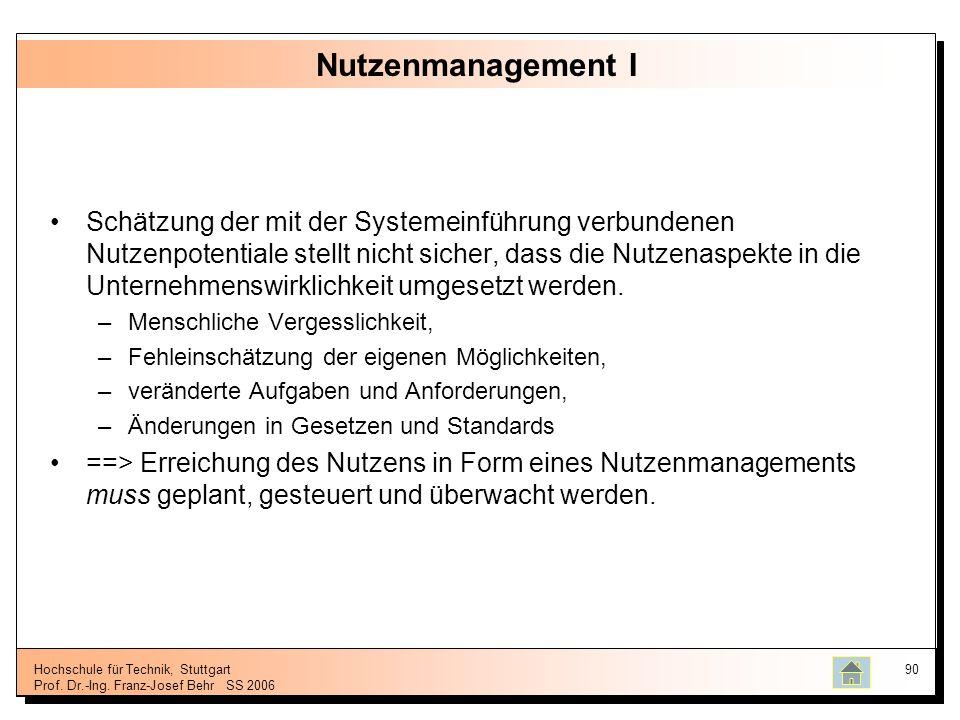 Hochschule für Technik, Stuttgart Prof. Dr.-Ing. Franz-Josef BehrSS 2006 90 Nutzenmanagement I Schätzung der mit der Systemeinführung verbundenen Nutz
