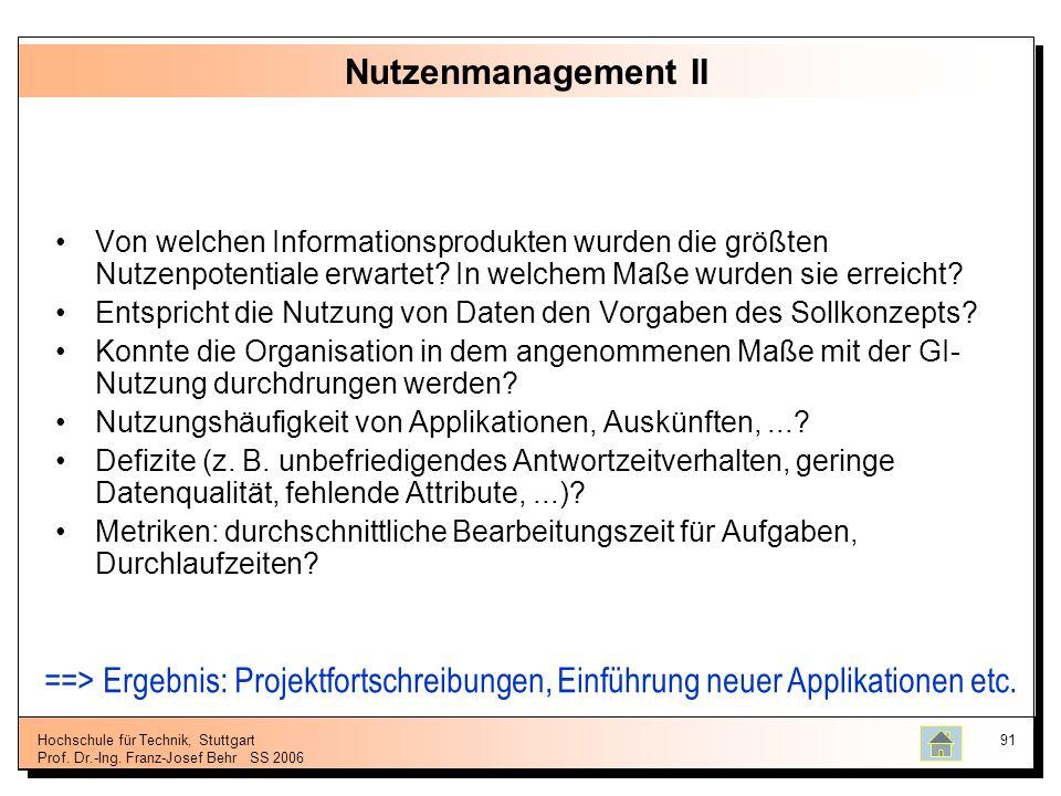 Hochschule für Technik, Stuttgart Prof. Dr.-Ing. Franz-Josef BehrSS 2006 91 Nutzenmanagement II Von welchen Informationsprodukten wurden die größten N