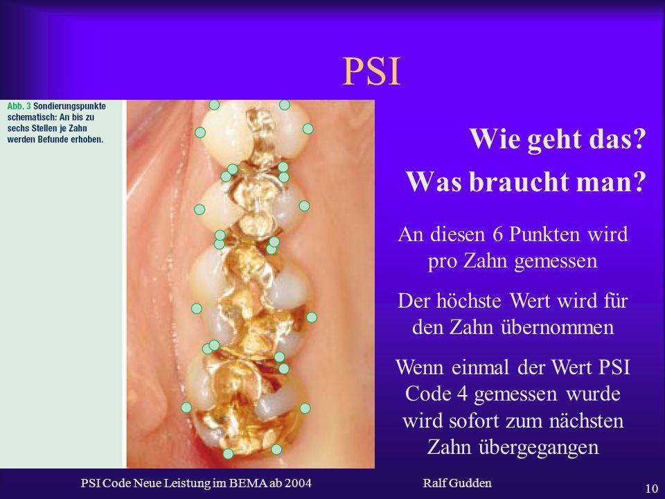 Ralf Gudden PSI Code Neue Leistung im BEMA ab 2004 10 PSI Wie geht das? Was braucht man? An diesen 6 Punkten wird pro Zahn gemessen Der höchste Wert w