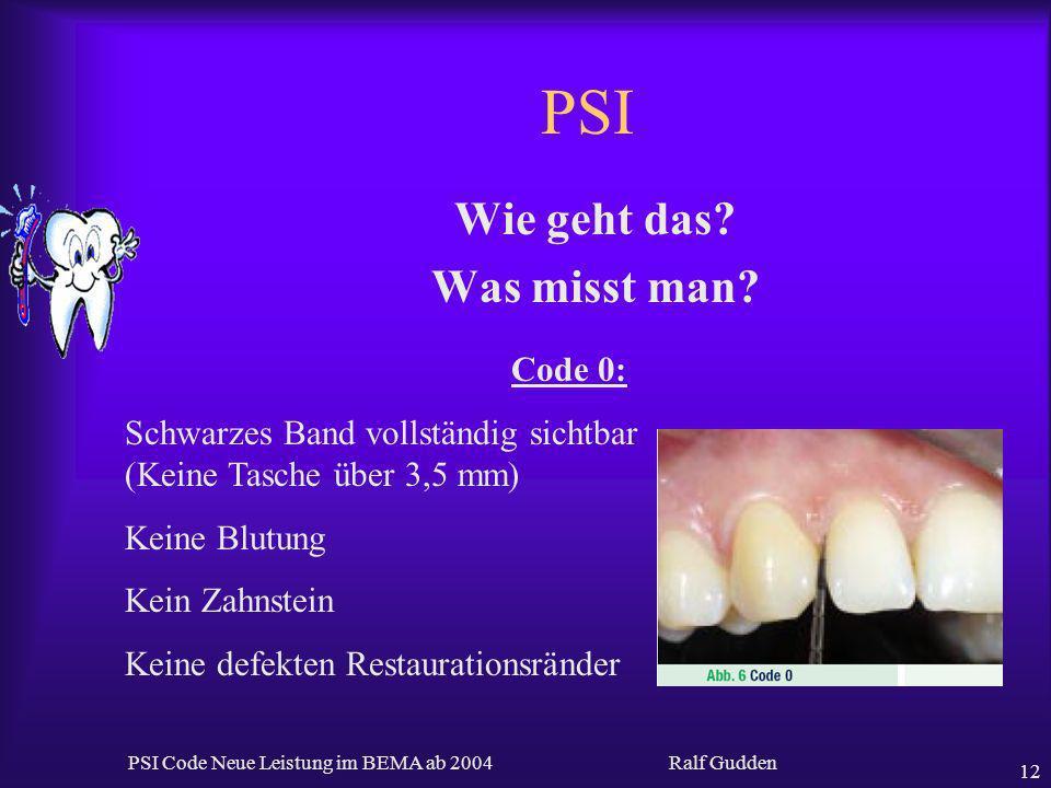 Ralf Gudden PSI Code Neue Leistung im BEMA ab 2004 12 PSI Wie geht das? Was misst man? Code 0: Schwarzes Band vollständig sichtbar (Keine Tasche über