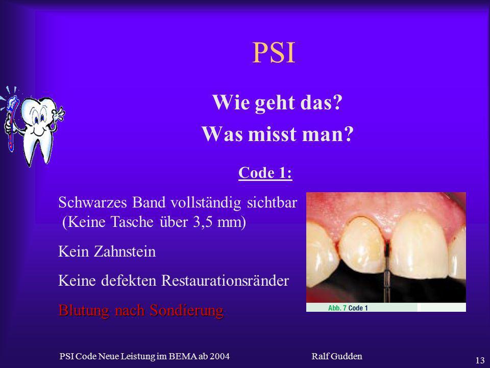 Ralf Gudden PSI Code Neue Leistung im BEMA ab 2004 13 PSI Wie geht das? Was misst man? Code 1: Schwarzes Band vollständig sichtbar (Keine Tasche über