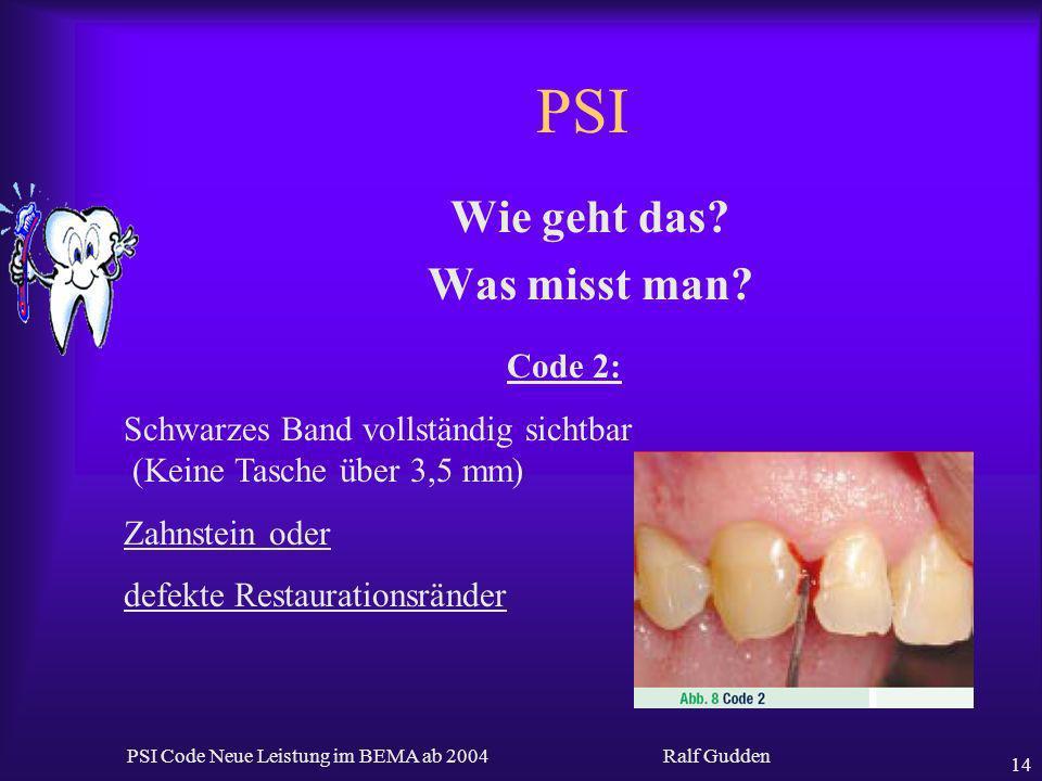 Ralf Gudden PSI Code Neue Leistung im BEMA ab 2004 14 PSI Wie geht das? Was misst man? Code 2: Schwarzes Band vollständig sichtbar (Keine Tasche über
