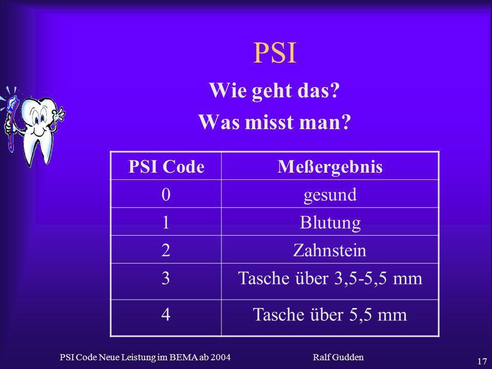 Ralf Gudden PSI Code Neue Leistung im BEMA ab 2004 17 PSI Wie geht das? Was misst man? PSI CodeMeßergebnis 0gesund 1Blutung 2Zahnstein 3Tasche über 3,