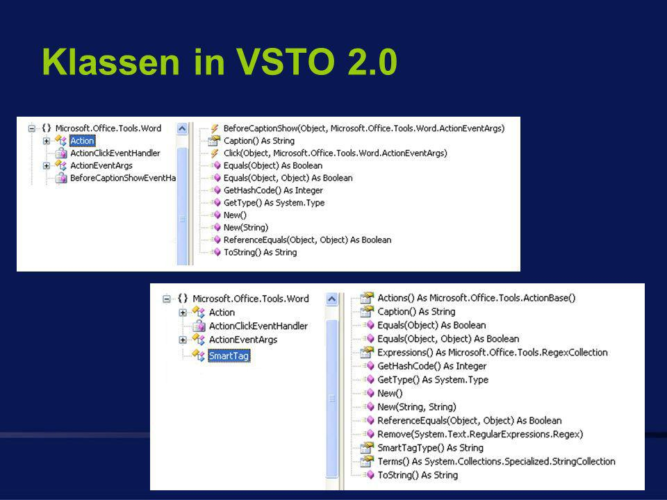 Klassen in VSTO 2.0