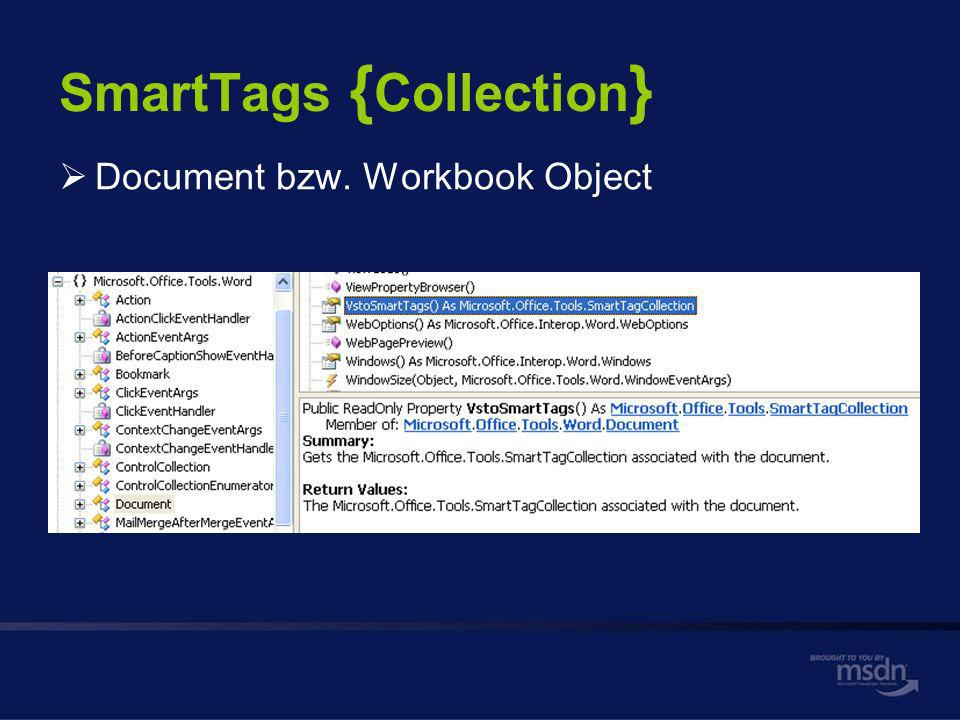 SmartTags { Collection } Document bzw. Workbook Object