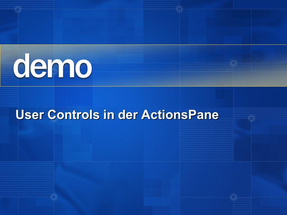 User Controls in der ActionsPane