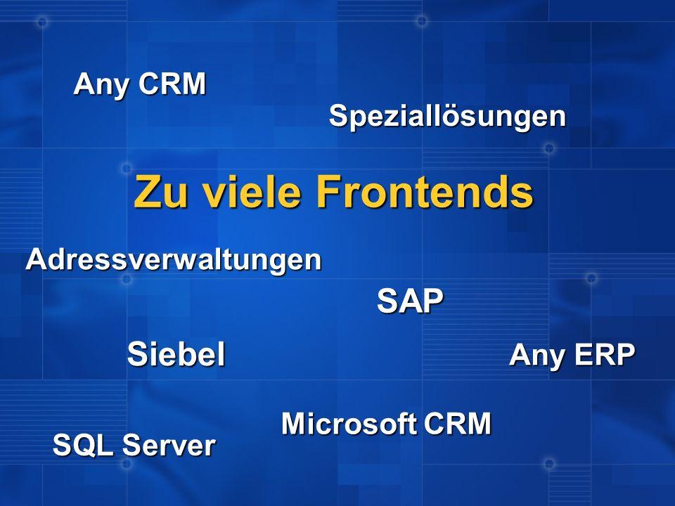 Zu viele Frontends Siebel SAP Microsoft CRM Any ERP Speziallösungen Any CRM Adressverwaltungen SQL Server