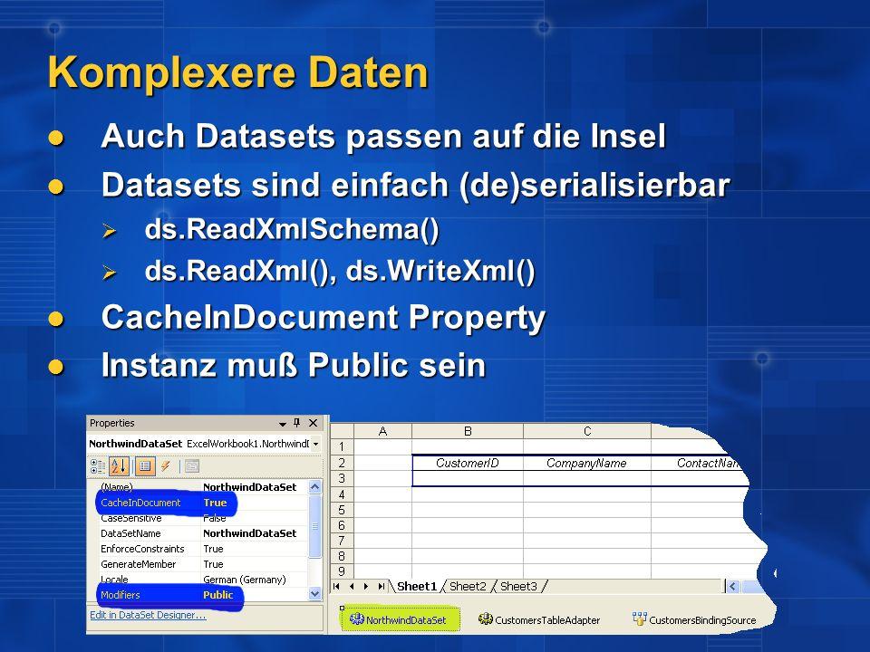 Komplexere Daten Auch Datasets passen auf die Insel Auch Datasets passen auf die Insel Datasets sind einfach (de)serialisierbar Datasets sind einfach