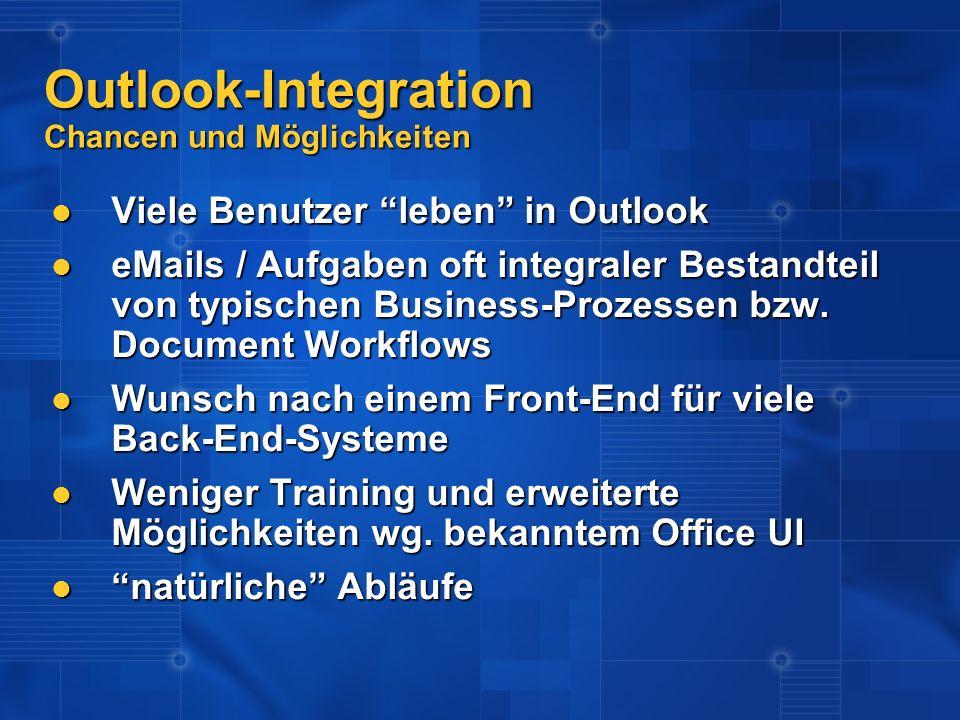 Outlook-Integration Chancen und Möglichkeiten Viele Benutzer leben in Outlook Viele Benutzer leben in Outlook eMails / Aufgaben oft integraler Bestand
